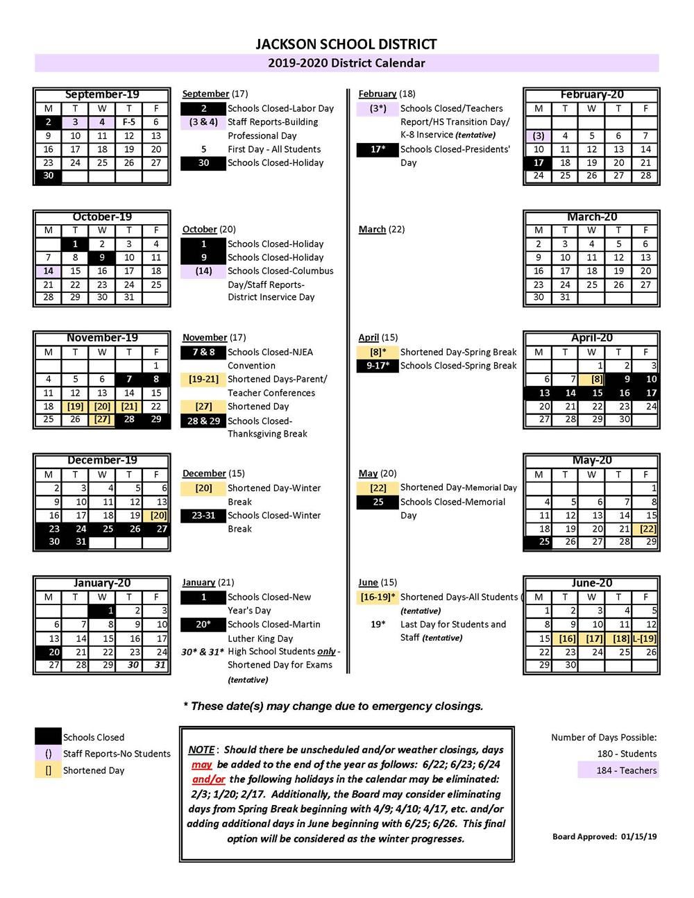 2019-2020 District Calendar is Approved