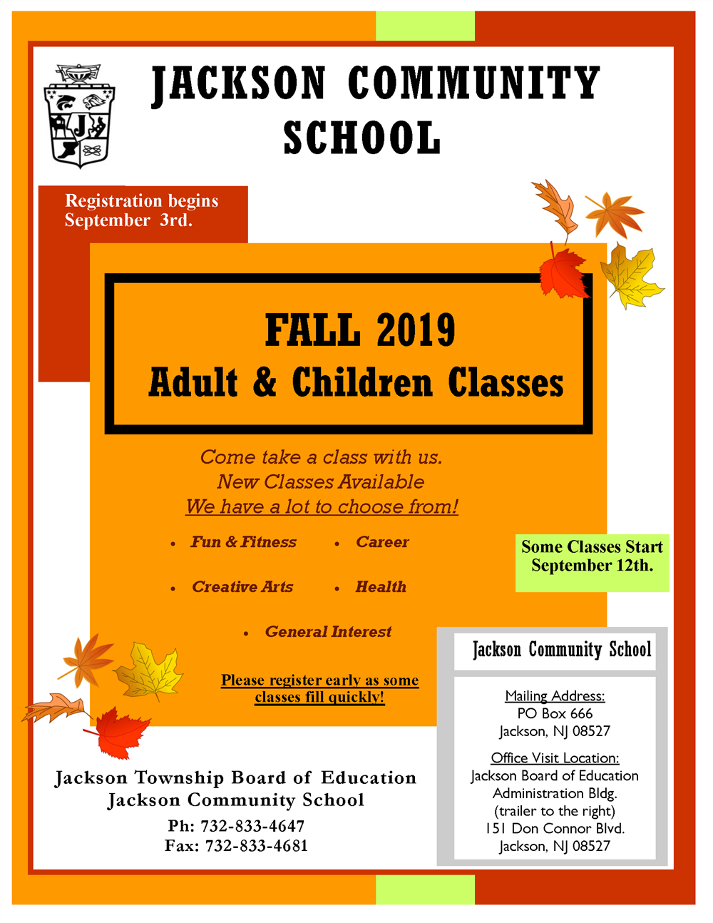 JSD Community School FALL Brochure is Out!