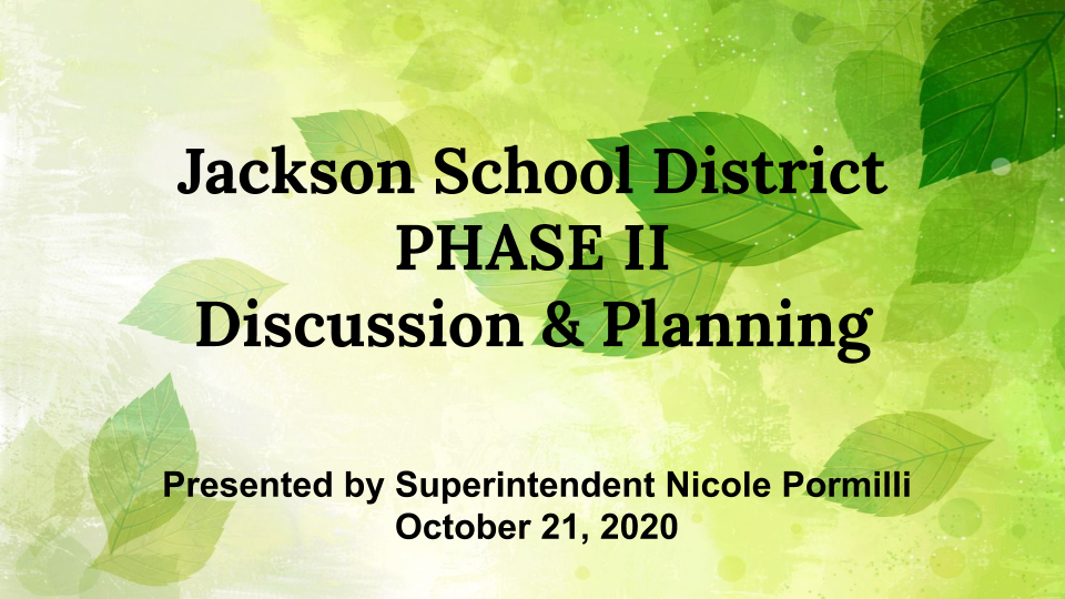 cover page of Phase II Discussion Presentation
