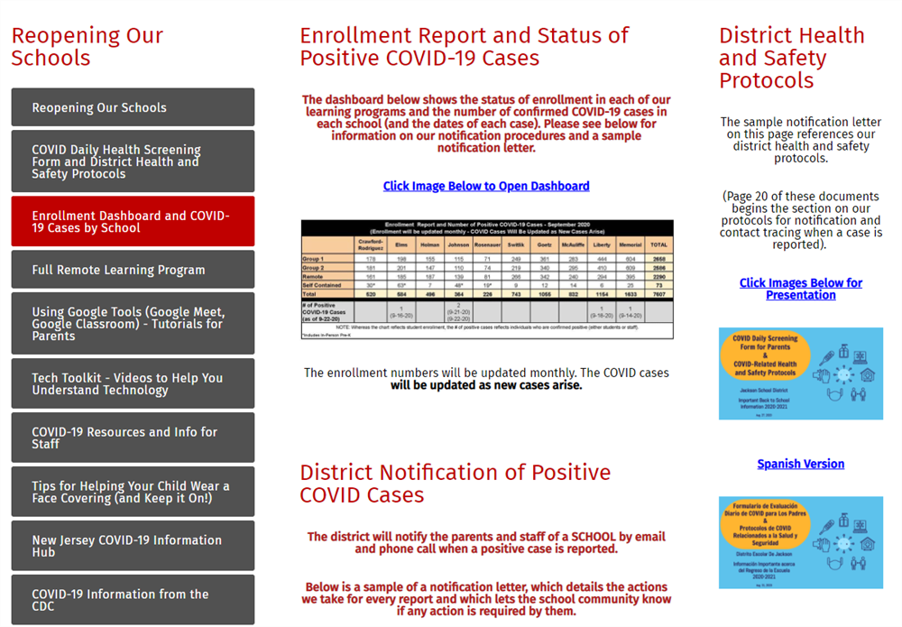 snapshot of enrollment dashboard page