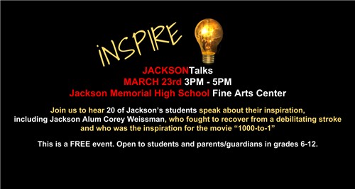flyer for Jackson talks program information in image is in this message