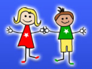 cartoon image of students on blue background