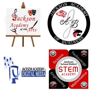 four logos of the four Jackson School District Academies of Learning