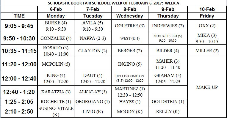 Feb. 2-6 Book Fair Schedule