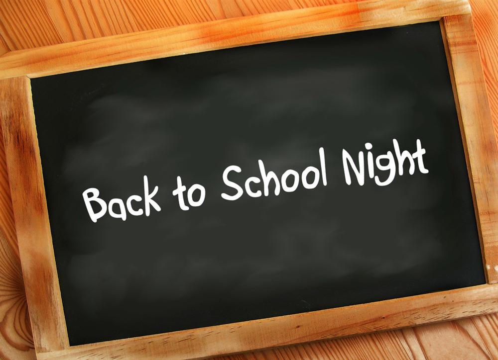 Back to School Night:  Sept. 15 @ 7 p.m.