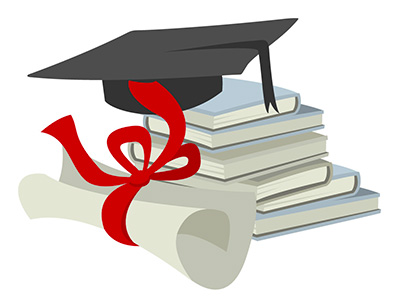 cap and diploma on books
