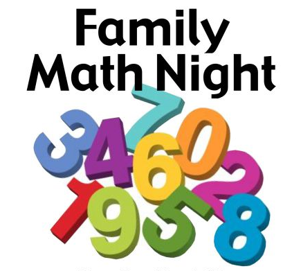 Title image showing words Family Math Night and random numbers