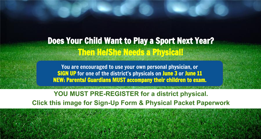 copy of advertisement announcing physicals