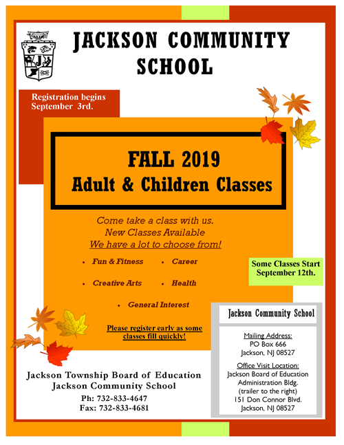 Cover Page of Fall Community School Brochure