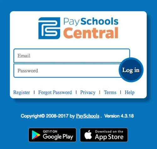 screenshot of invite to join the payschoolcentral app