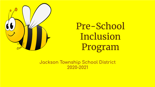 cover page of pre-school inclusion presentation featuring title and bumblebee