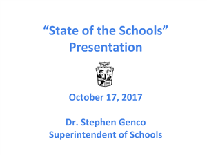 Cover of State of the Schools Presentation which links to presentation