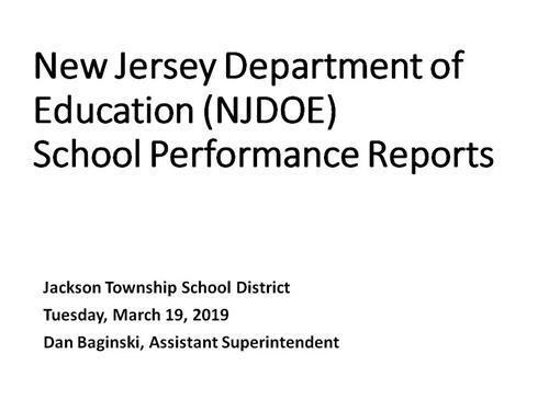 Cover of School Performance Report Presentation