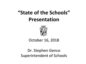 Cover Page for State of the Schools Presentation