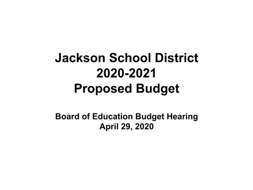 Cover of budget presentation for 2020-2021