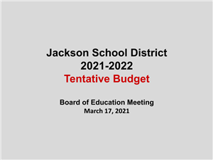 cover of tentative budget presentation