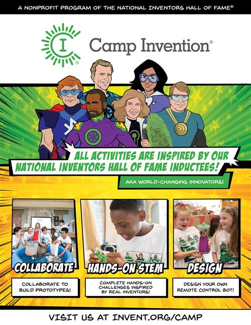 Cover Page for Flyer for Camp Invention Selecting Image Opens the Document