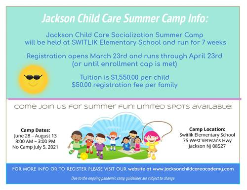 flyer for JSD summer camp