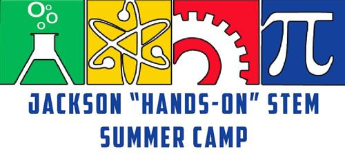 banner for flyer announcing stem camp with symbols for science, technology engineering and mat