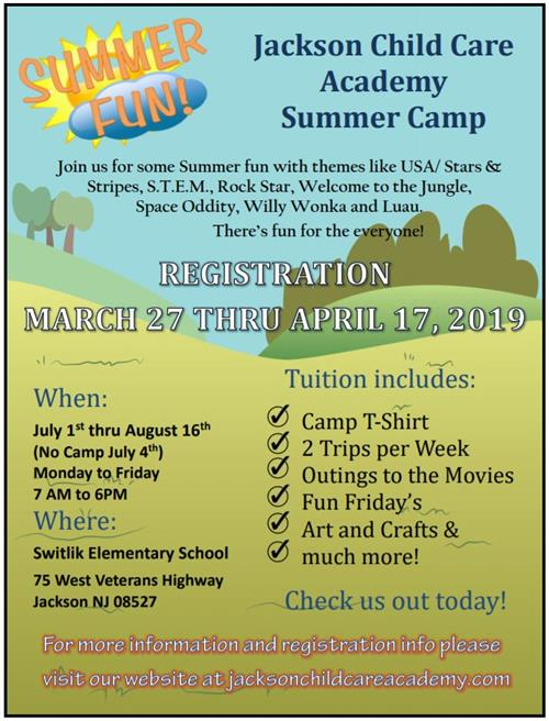 Flyer for Child Care Summer Camp Information on flyer is on web page below
