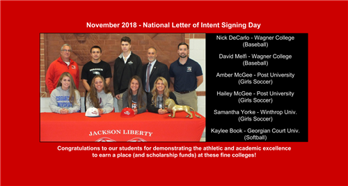 Photo of Signing Letter of intent featuring Jackson Students