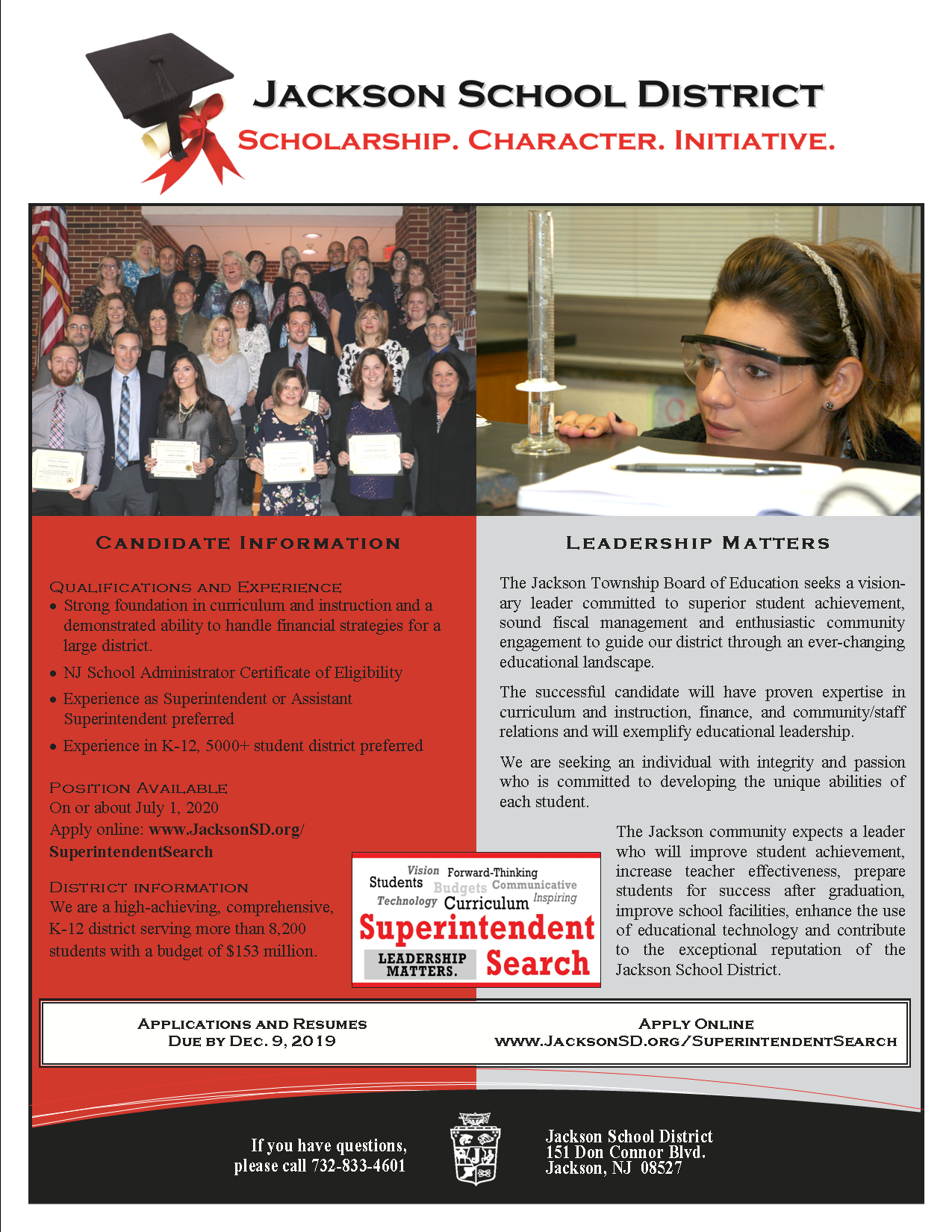 Cover Page of Flyer for Superintendent Search