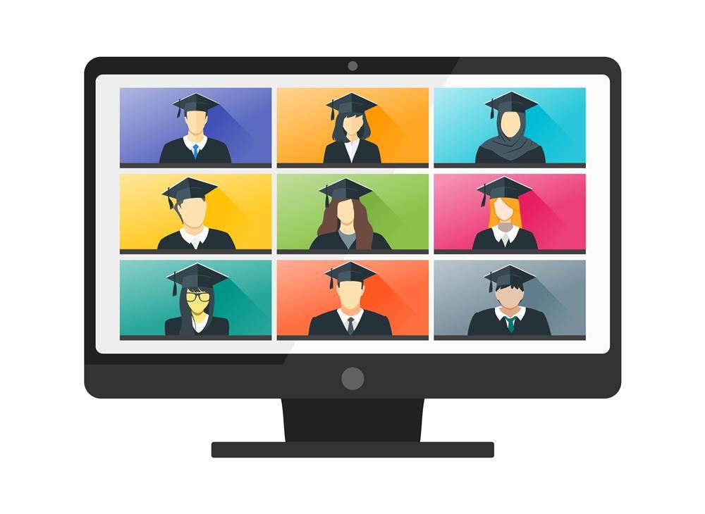 screen with images of graduates in grid on screen