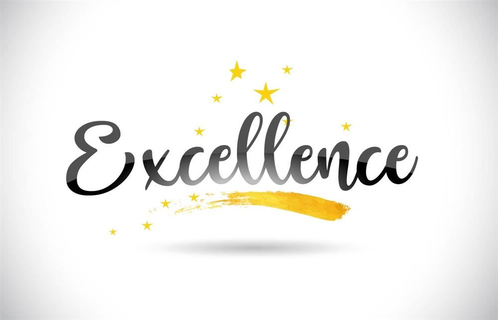 excellence on white background with gold stars