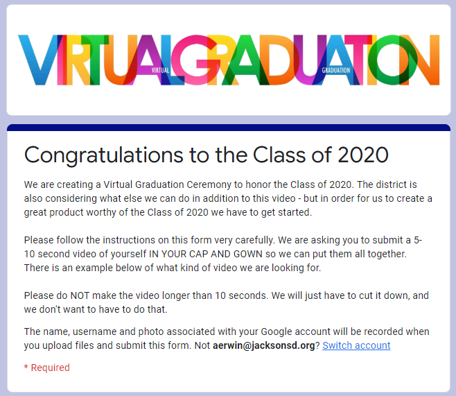 snapshot of google form for graduates