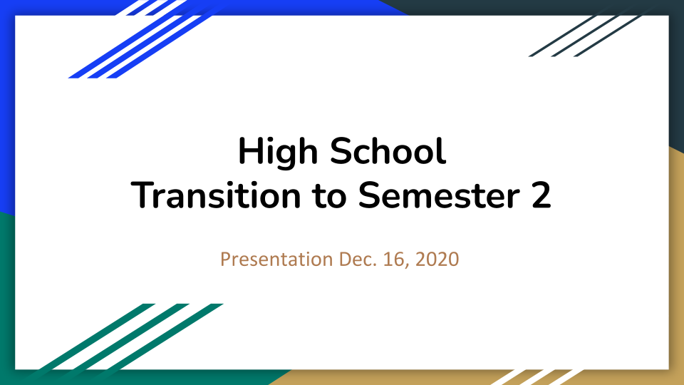 cover page of HS transition slide presentation