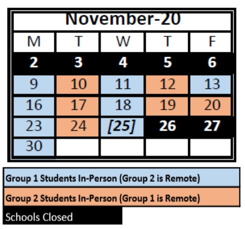 color coded calendar for November