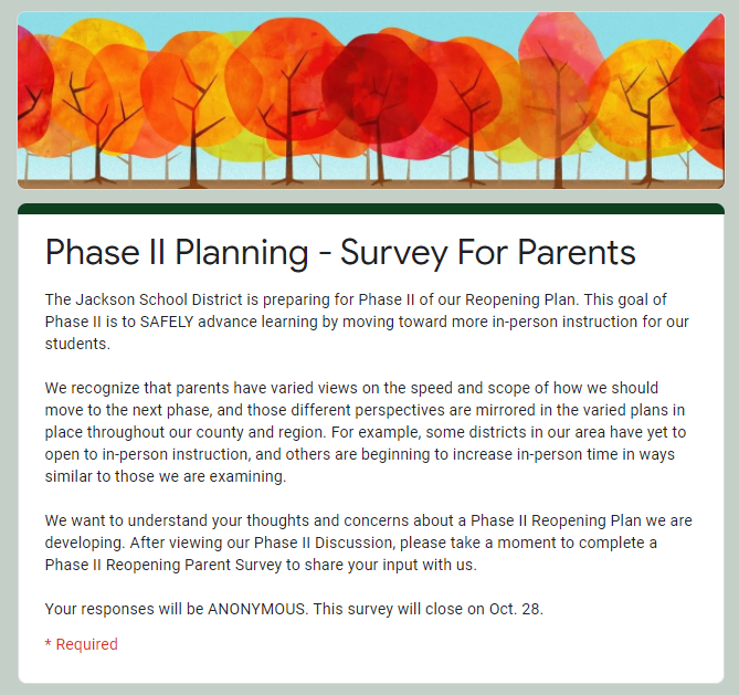 cover page of Phase II Parent Survey