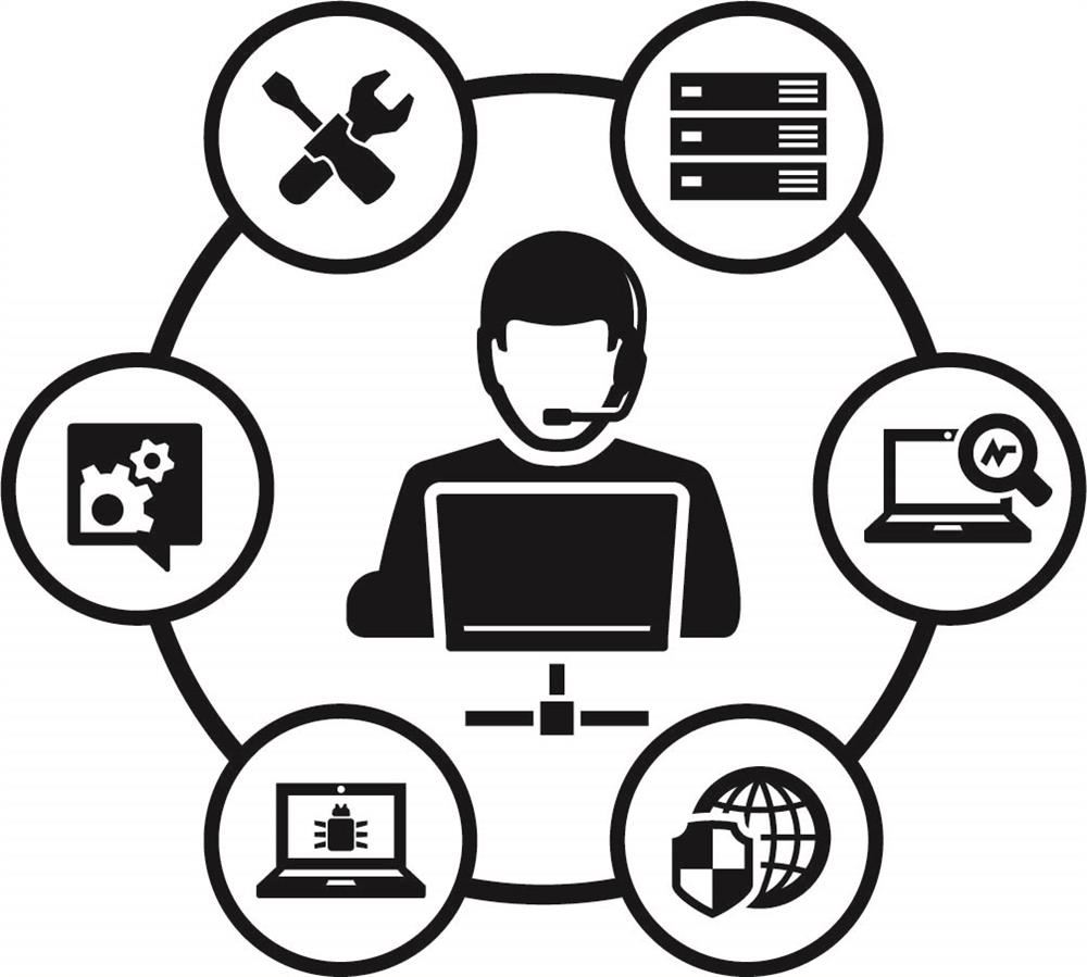 tech support icon showing graphics of tech devices