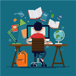 boy at desk working remotely